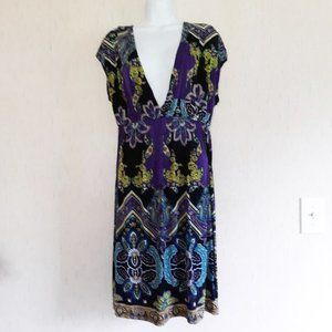 Purple Floral Dress XL V-Neck Spring Stretch
